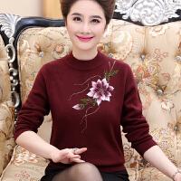 妈妈秋装针织毛衣40岁50中老年女冬装加厚打底衫半高领绣花羊毛衫