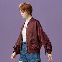 【2件2.5折到手价:64】美特斯邦威夹克女韩版织带装饰上衣个性时尚短外套秋装新款