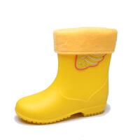 儿童雨鞋男童女童糖果色水鞋中筒卡通雨靴防滑可保暖胶鞋SN0873 黄色 黄翅膀送内胆 18 内长18