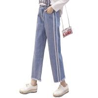 牛仔裤子女士九分裤高腰韩版宽松直筒春秋2018新款显瘦蓝色 蓝色