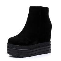 2018韩版秋冬季厚底坡跟内增高短靴女鞋13CM松糕底马丁靴子裸靴 黑色