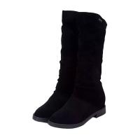 2018秋季新款中筒靴女鞋平跟绒面套筒圆头英伦皮靴复古女靴骑士靴
