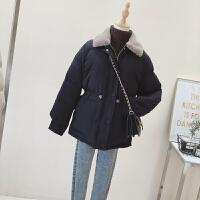 羽绒女中长款冬季韩版收腰兔毛领棉袄ins面包服外套