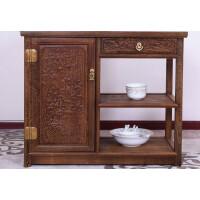 家具中式实木餐边柜鸡翅木茶水柜边柜茶柜柜子储物柜厨房厨柜 (长80*宽38*高70)柜 单门