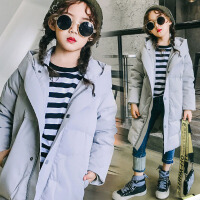 儿童棉衣2017冬季新款韩版童装外套女童棉衣中长款中大童棉服外套潮 SSD拼条棉衣