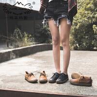 玛菲玛图手工女鞋新款女真皮学生平底单鞋学院风系带牛津鞋3782-19W