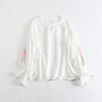 春款女长袖雪纺衫 圆领套头灯笼袖甜美绣花宽松上衣48X