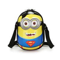 2018新款儿童包包韩版3D小黄人迷你蛋壳男童单肩斜挎包卡通零钱包 蓝黄 超人