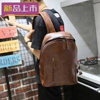 2018韩版潮流复古皮手工包男士双肩包户外休闲旅行背包 咖啡色 全场满2件送手包