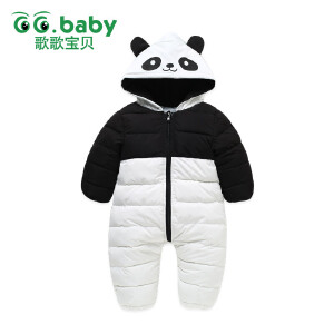 【尾品汇专区:159选3】歌歌宝贝 连体衣羽绒棉冬婴儿保暖外出熊猫哈衣