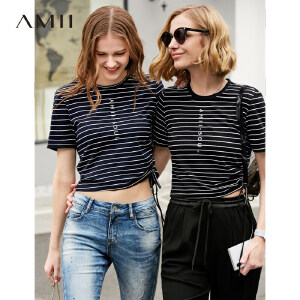 【到手价:59.9元】Amii极简洋气时尚心机T恤女2019夏季新圆领绑带条纹短袖绣花上衣