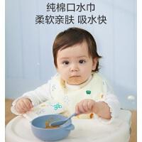 全棉时代围兜婴儿饭兜防水吃饭口水非硅胶围嘴100%全棉超轻薄2条