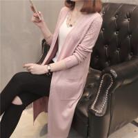 2018春款女装韩版女装 中长款针织衫镂空口袋开衫披肩 均码