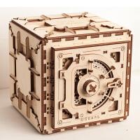 密码箱首饰盒木质机械传动拼装模型创意表白求婚礼物 姜黄色 密码箱