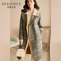 【3折参考价:870元】格子羊毛大衣女长款千鸟格针织拼接迪赛尼斯2019冬季新款毛呢外套