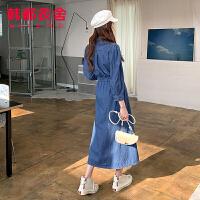 韩都衣舍2020年新款女装春季韩版A字收腰牛仔长裙连衣裙JM10292�R