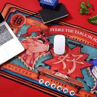 创意电脑桌垫胶垫鼠标垫可爱女生竞技游戏超大个性锁边加厚竞技 拍案叫好鼠标垫 880x400mm
