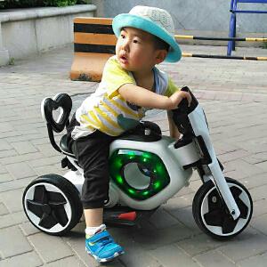 【当当自营】炫梦奇儿童电动摩托车三轮车电动童车电瓶车 可坐音乐闪光 雪白色