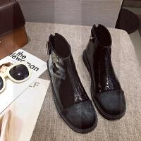 靴子女秋冬新款 欧美复古性感马毛拼接漆皮方头后拉链平底短靴薄SN5780 黑色 6006-1