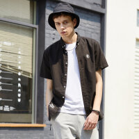 【1件2折到手价:28】美特斯邦威短袖衬衫男装夏季新款韩版潮流字母印花短袖衬衫8