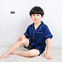 男童睡衣夏季小孩薄款真丝儿童女童家居服中大童宝宝短袖套装夏天