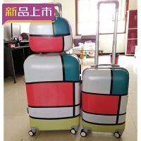 2018拉杆箱女24寸万向轮涂鸦行李箱旅行箱20寸小清新学生韩版个性皮箱