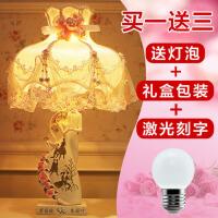 创意欧式玫瑰花红色台灯婚房卧室床头灯装饰品树脂摆件结婚礼物