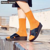 美特斯邦威美特斯邦威女鞋凉鞋夏季新款时尚交叉带拖鞋女27S