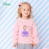 【99元3件】迪士尼Disney童装女童卫衣春秋新款上衣宝宝抓绒外出保暖打底衫173S967