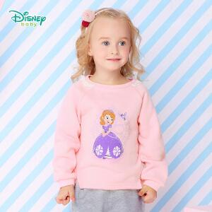 【卷后139元3件】迪士尼Disney童装女童卫衣春秋新款上衣宝宝抓绒外出保暖打底衫173S967