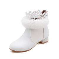 2018秋冬新款韩版平跟短靴女大小码学生舒适蕾丝兔毛雪地单靴女鞋软底 白色 兔毛款