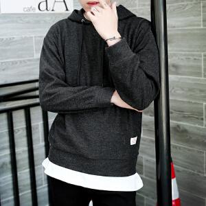 秋季卫衣男连帽 韩版运动外套潮嘻哈卫衣假两件男士套头卫衣