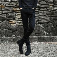 秋冬季白色加绒牛仔裤男士弹力修身小脚裤韩版潮流破洞休闲长裤