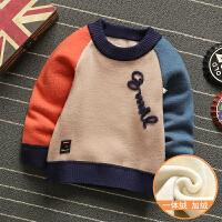 一体加绒毛衣宝宝加厚套头圆领男童针织衫儿童保暖打底衫