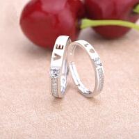 创意款s925银情侣戒指 日韩版明星同款love开口戒指 结婚钻戒送爱人