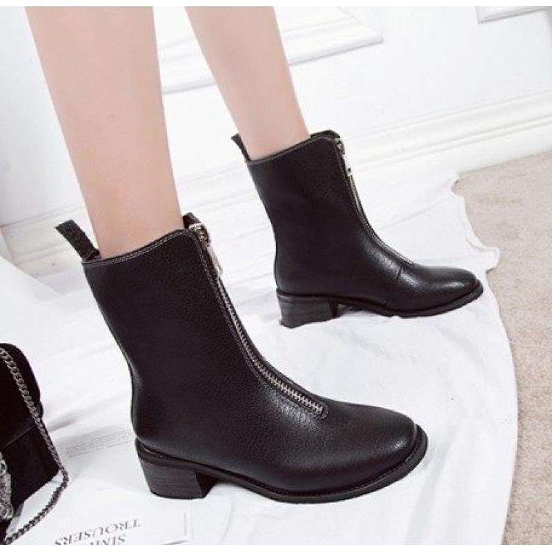 马丁靴女2018春秋季英伦风前拉链女靴粗跟舒适短靴保暖中筒靴单靴