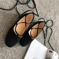 韩国chic新款凉鞋绑带芭蕾鞋平底浅口仙女鞋交叉复古百搭平跟单鞋
