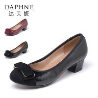 Daphne/达芙妮秋季简约低跟女鞋浅口防滑单鞋