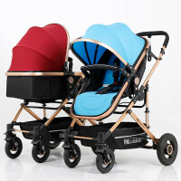 小孩子坐的小推车双胞胎婴儿推车可坐躺可拆分高景观轻便折叠避震婴儿手推车A