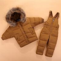 宝宝儿童蝙蝠袖羽绒服套装男女童韩版焦糖色两件套冬装大毛领