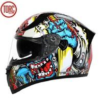 摩托车头盔双镜片全盔特大码4X男女个性机车头盔全覆式 黑/凌风 4X