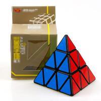 ?减压创意金字塔魔方异形魔方金字塔玩具异型金字塔三阶魔方基地? 冠龙金字塔黑色+底座