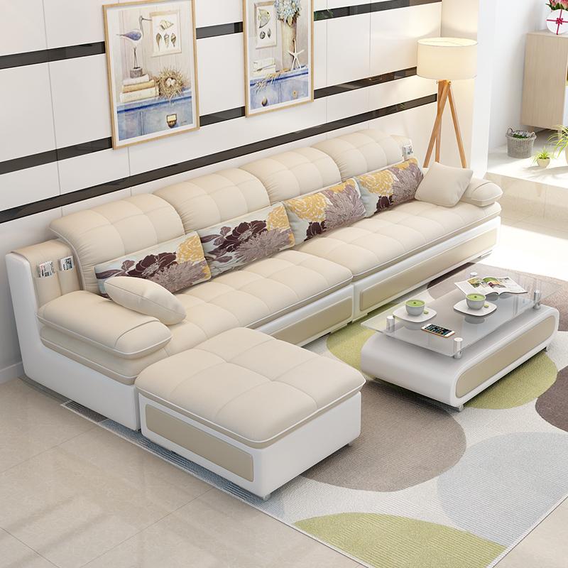 家具 小户型布艺沙发转角可拆洗三人套装沙发客厅整装组合o1l 默认发:海绵版