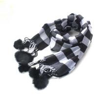 秋冬男女童围巾  儿童仿羊绒格子围巾   披肩亲子长款保暖毛球围巾