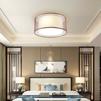 雷士照明 新中式铁艺吸顶灯现代中式布艺餐厅灯卧室灯客厅灯灯具