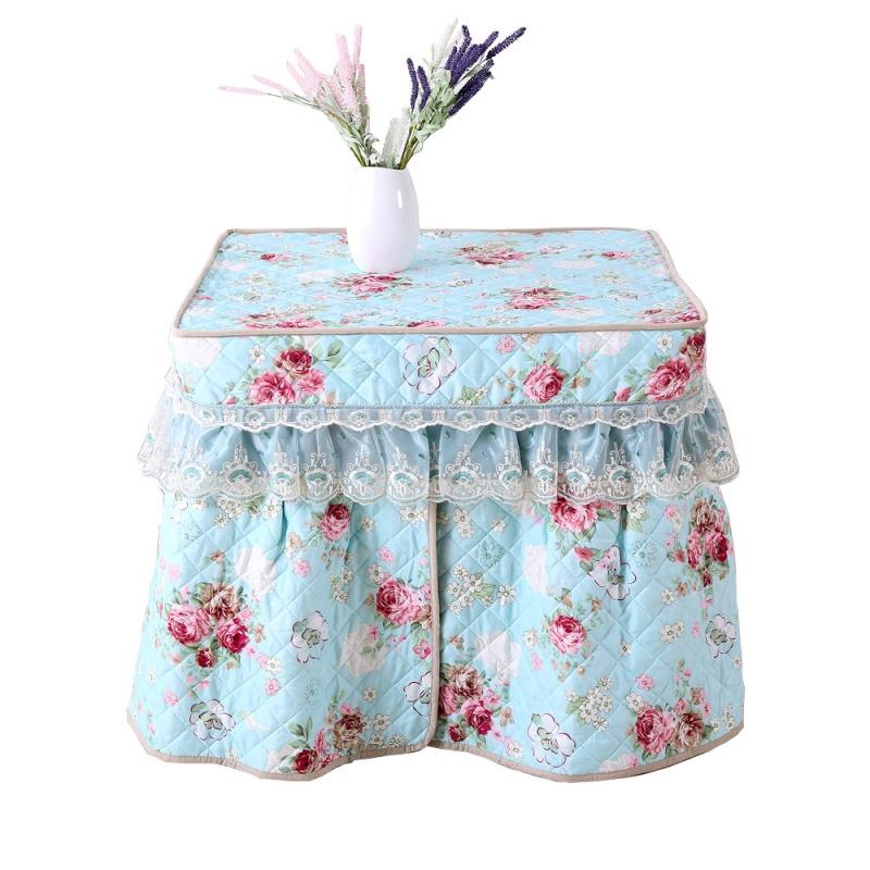 电炉罩烤火罩新款正长方形家用加厚被套架桌布麻将机茶几电暖桌罩   可揭盖,加厚夹棉,裙摆加宽带精美蕾丝花边