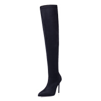 欧美秋冬显瘦过膝长靴长筒弹力绒面莱卡高筒靴子尖头细跟高跟女靴