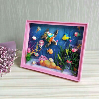儿童DIY创意3D立体海底世界相框装饰画粘贴画手工制作材料包1 大海龟 款【含框 +彩灯】