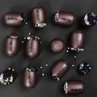 【支持礼品卡】茶叶罐小号迷你紫砂茶具茶叶包装盒陶瓷复古密封罐 jm7