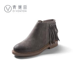 青婉田2018新款复古女靴子真皮春季短靴女平跟休闲英伦风流苏潮靴